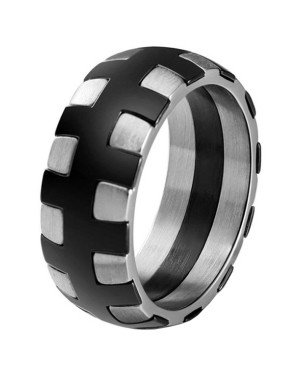 Edelstaal heren ring Stitches Black Silver