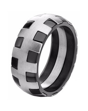 Edelstaal heren ring Stitches Silver Black