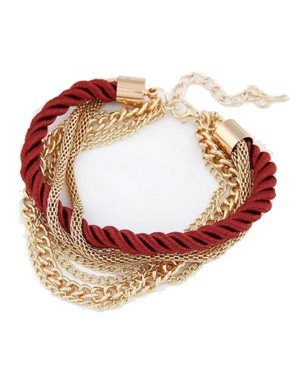 Fashion armband Metal Chain Braided rope Rood