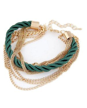 Fashion armband Metal Chain Braided rope Groen