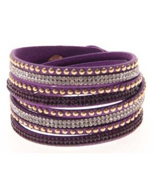 Fashion armband Wrap met Glitter Paars A-C5.8