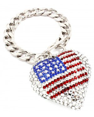 Fashion dames armband USA Flag Silver