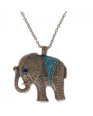 Fashion ketting Chrystal Elephant Blue