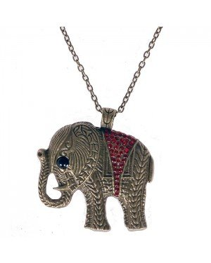 Fashion ketting Chrystal Elephant Red