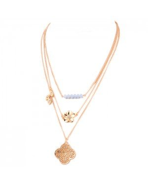 Fashion ketting Goud Layered Flower