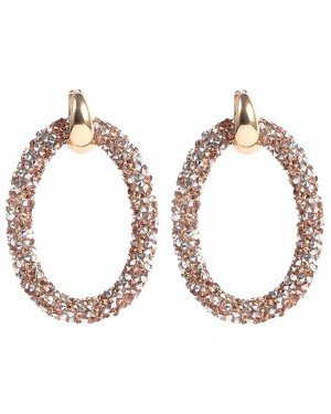 Cilla Jewels oorbellen Crystal Oval Gold Brown