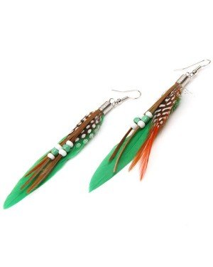 Fashion oorbellen Feather Bead Green