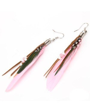 Fashion oorbellen Feather Bead Pink