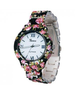 Geneva fashion horloge Flower Black