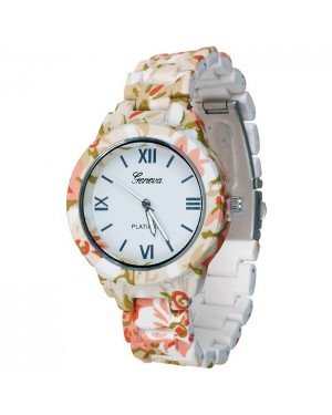 Geneva fashion horloge Flower Pink