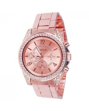 Geneva Fashion horloge Rhinestone Chrono Rose