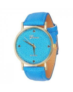 Geneva Platinum Fashion horloge Floral Light Blue