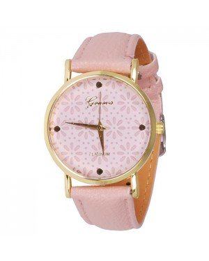 Geneva Platinum Fashion horloge Floral Pink