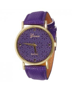 Geneva Platinum Fashion horloge Floral Purple