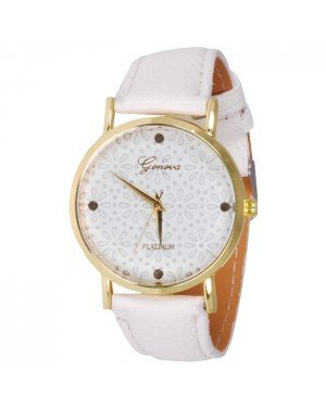 Geneva Platinum Fashion horloge Floral White