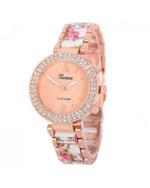 Geneva Platinum horloge Flower Diamonds Rose White