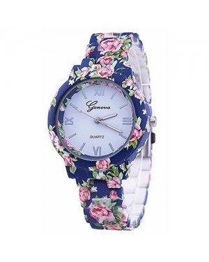 Geneva Platinum horloge Flower Print Blue Rose
