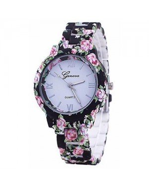 Geneva Platinum horloge Flower Print Black Rose