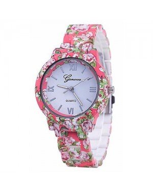 Geneva Platinum horloge Flower Print Pink Rose