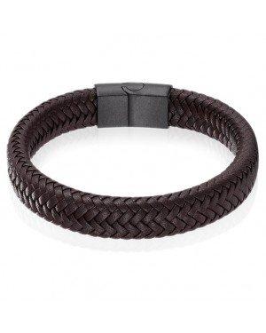 Gevlochten Leren Armband Heren Edelstaal Sluiting Bruin Zwart