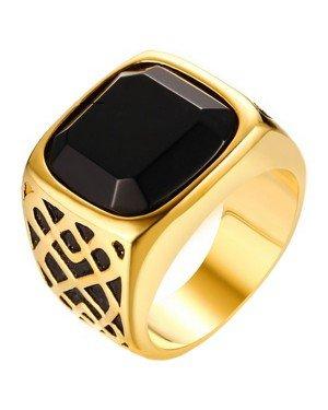Goudkleurige zegelring heren zwarte Agaat edelsteen