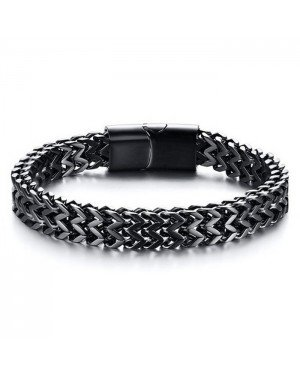 Heren armband edelstaal Black Mesh 8mm