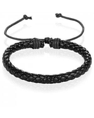 Heren Armband Gevlochten Leer Zwart Verstelbaar