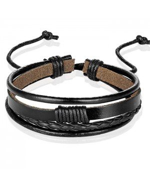 Heren armband Leer Zwart Verstelbaar Touw Multi armband