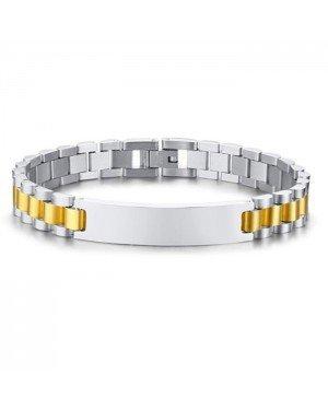 Heren armband Tom Jaxon Edelstaal Graveerplaat Goudkleurig Zilverkleurig - 21cm