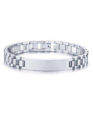 Heren armband Tom Jaxon Edelstaal Graveerplaat Zilverkleurig - 21cm