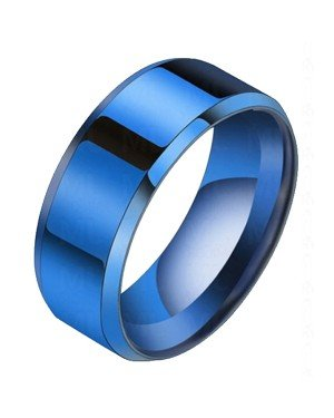 Heren ring Titanium Blauw 8mm