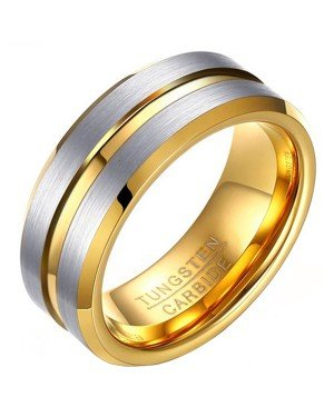 Heren ring Wolfraam Verguld Zilver Goud 8mm