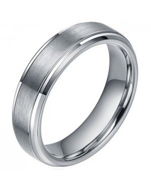 Heren ring wolfraam Zilverkleurig Brushed 8mm