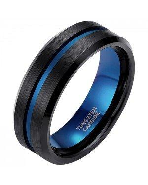 Heren ring Wolfraam Zwart Blauw 8mm
