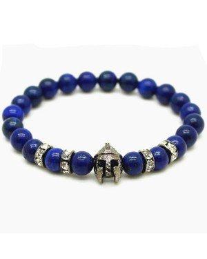 Kralen heren armband Blue Lapis Lazuli Spartan Helmet