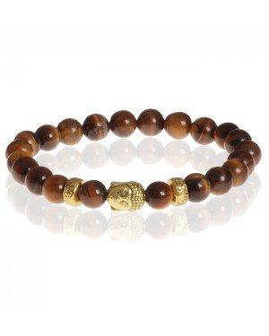 Heren kralen armband Tigereye Buddha Gold