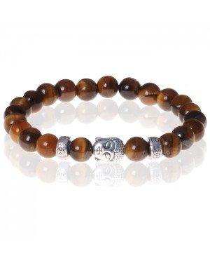 Heren kralen armband Tigereye Buddha Silver