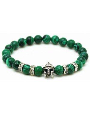 Kralen heren armband groen natuursteen Spartan Helmet