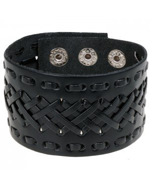 Lederen heren armband Black Braided