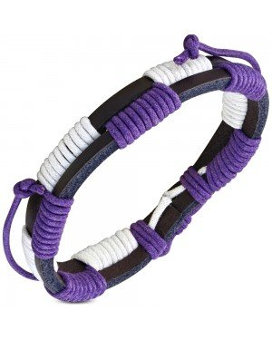 Leren armband Double Wrap White Purple