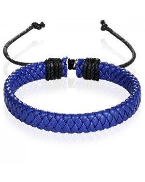 Leren armband Heren Blauw Verstelbaar Gevlochten leer