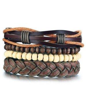 Leren armbanden Set Bruin Houten Kralen