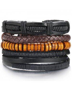 Leren armbanden set met bruine kralen
