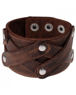 Leren heren armband Criss Cross Bruin