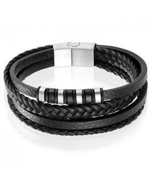 Leren heren armband Multi Mendes Edelstaal Zilverkleurig Zwart