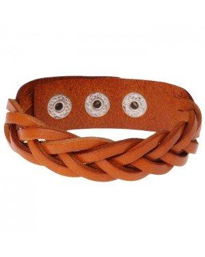 Leren mannen armband Twisted Wrap Cognac
