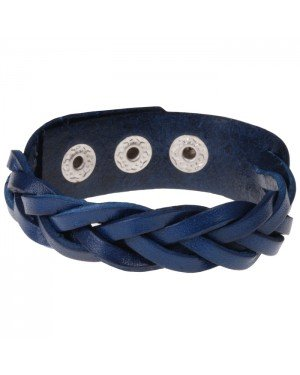 Leren mannen armband Twisted Wrap Vintage Blauw