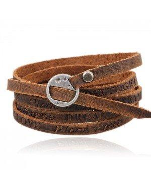 Leren Wikkelarmband LGT Jewels Verstelbaar Bruin