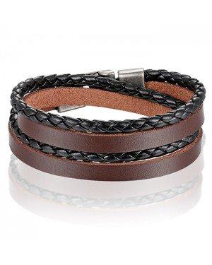 Leren Wrap armband LGT Jewels Gevlochten leer Bruin Zwart
