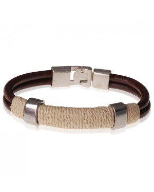 LGT Jewels bruine leren armband Geel Touw - 20.5cm